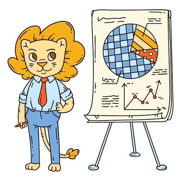 Leeuwleraar met een bord op een statief. Premium Vector