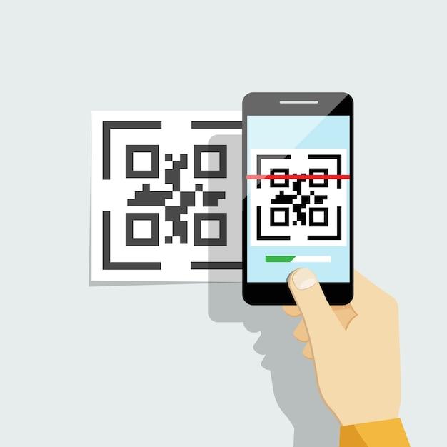 Leg qr-code vast op mobiele telefoon. Gratis Vector