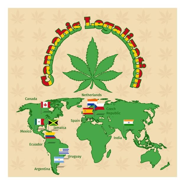 Legalisatie van marihuanakaart Gratis Vector