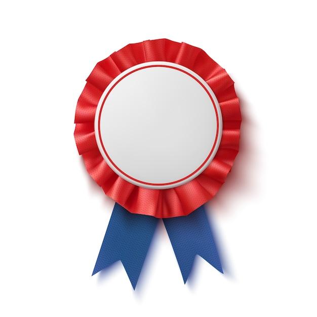 Lege badge. realistisch, blauw en rood label met lint. Premium Vector