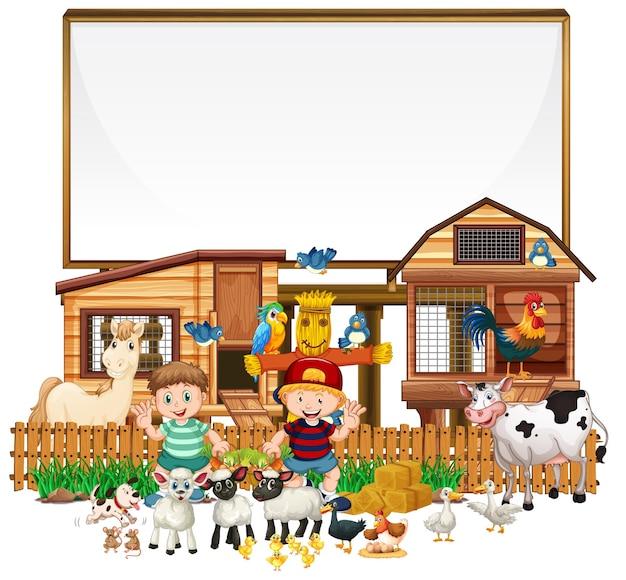 Lege banner met boerderijvoorwerpen op witte achtergrond Gratis Vector