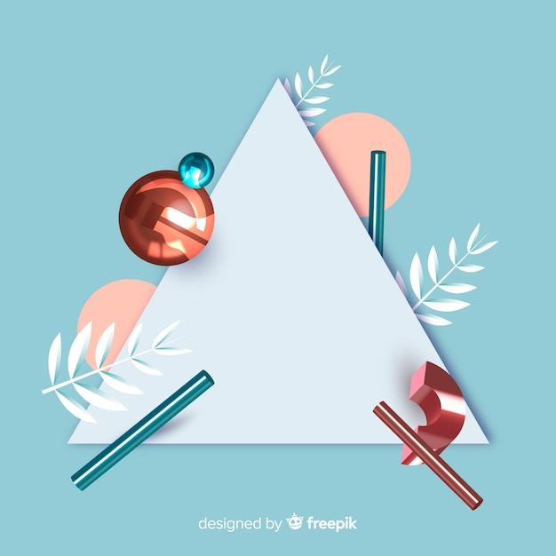 Lege banner met driedimensionale geometrische vormen Gratis Vector