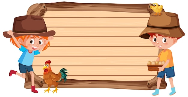 Lege banner met kinderen en dierenboerderij Premium Vector