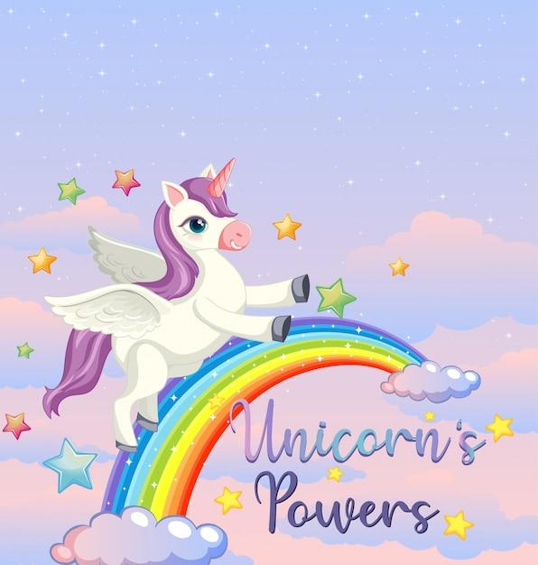 Lege banner met schattige eenhoorn in de pastel hemelachtergrond Gratis Vector