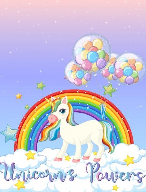 Lege banner met schattige eenhoorn op de pastel hemelachtergrond Gratis Vector