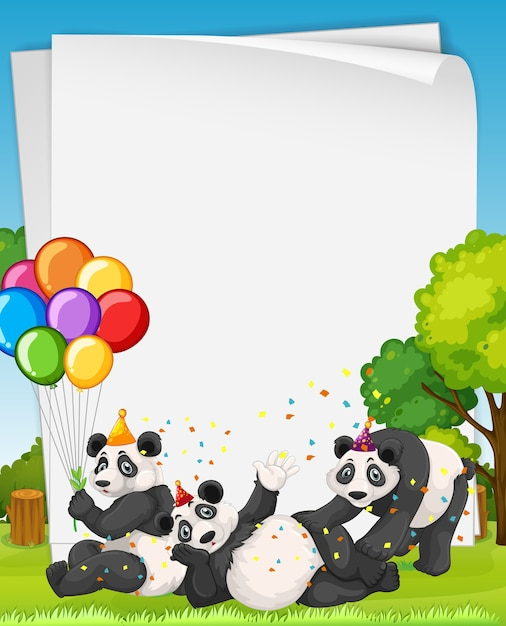 Lege banner met veel panda in feestthema Gratis Vector
