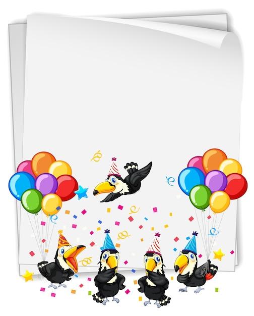 Lege banner met veel vogels in feestthema Gratis Vector