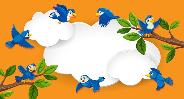 Lege banner met vogelthema Premium Vector