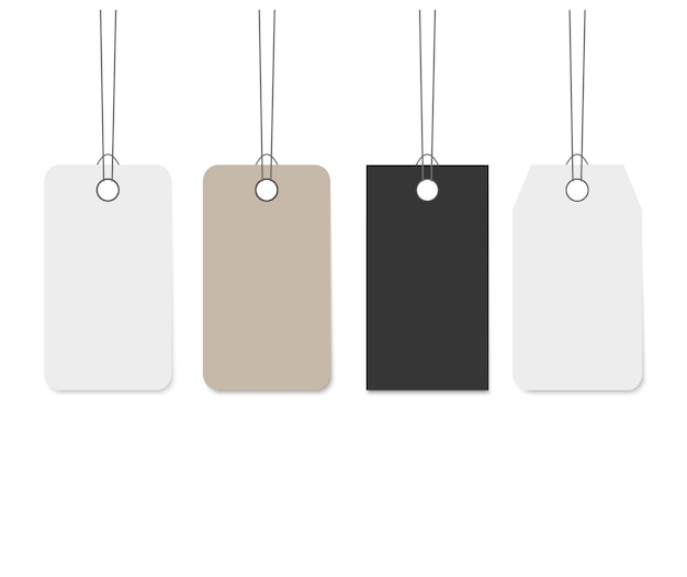 Lege bengelende papieren label set Premium Vector