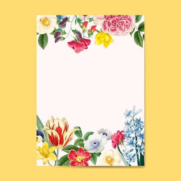 Lege bloemen uitnodiging kopie ruimte Gratis Vector