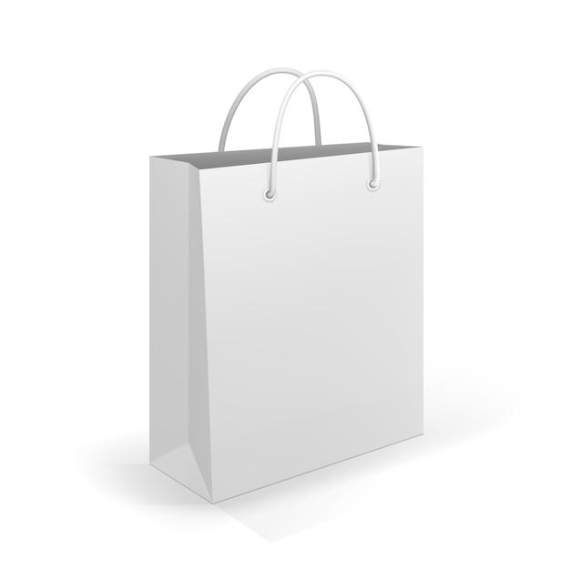 Lege boodschappentas op wit voor reclame en branding Gratis Vector
