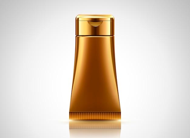 Lege bronzen buis, cosmetische container op lichtgrijze achtergrond in afbeelding Premium Vector
