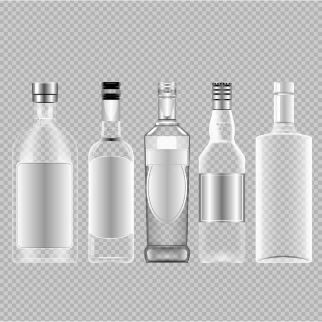Lege flessen alcohol Gratis Vector