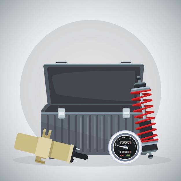 Lege gereedschapskist met schokdemper en bougie Premium Vector