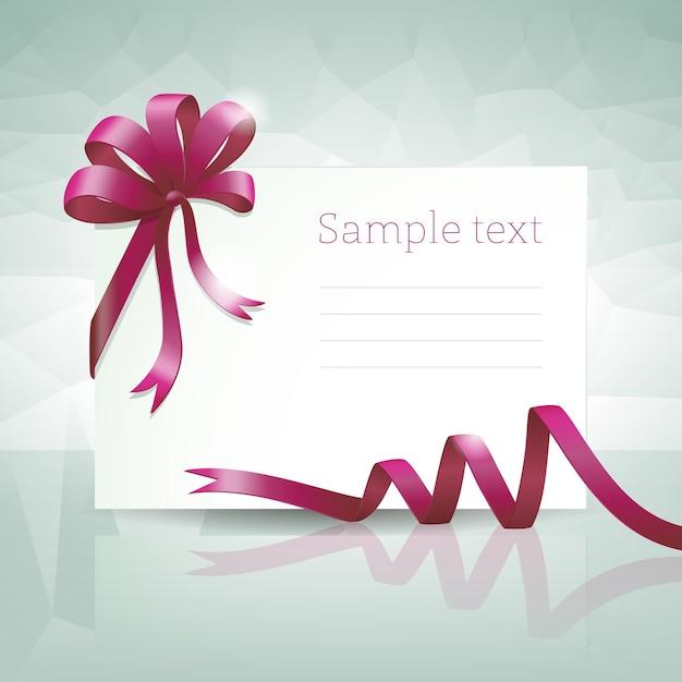 Lege geschenkenkaart met paars striklint en voorbeeldtekst Gratis Vector