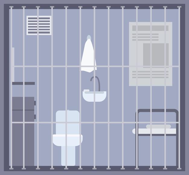 Lege gevangenis, gevangenis of detentiecentrumkamer met bed, toilet en gootsteen en andere voorzieningen achter tralies of rooster Premium Vector
