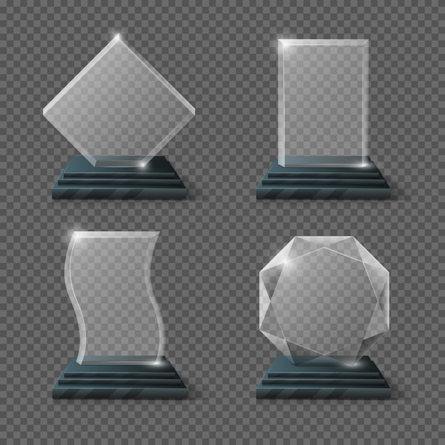 Lege glazen trofee awards set Premium Vector