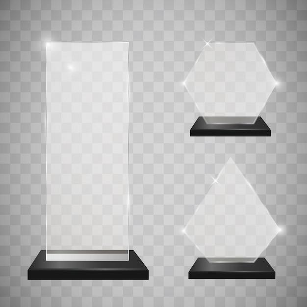 Lege glazen trofee awards set Premium Vector