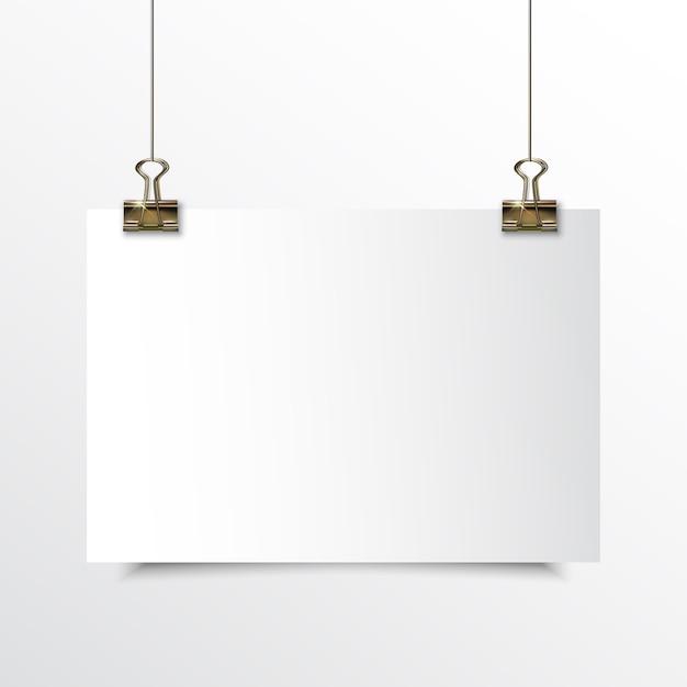 Lege horizontale papier realistische mock up Premium Vector