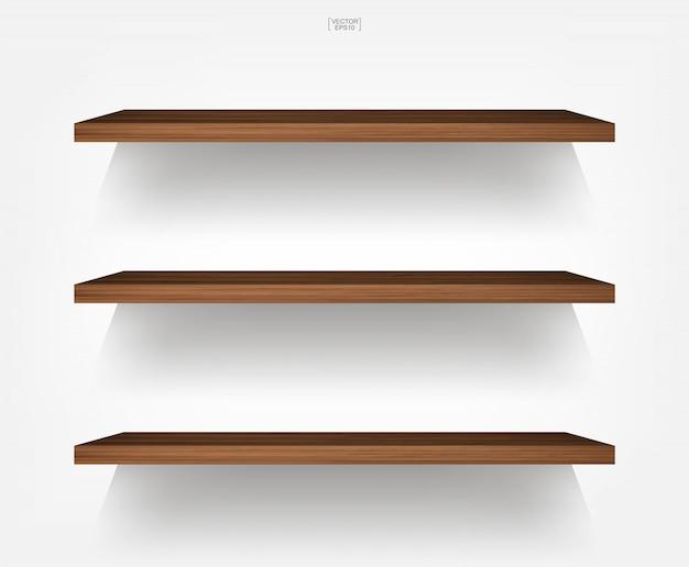 Lege houten plank op witte achtergrond met zachte schaduw. Premium Vector