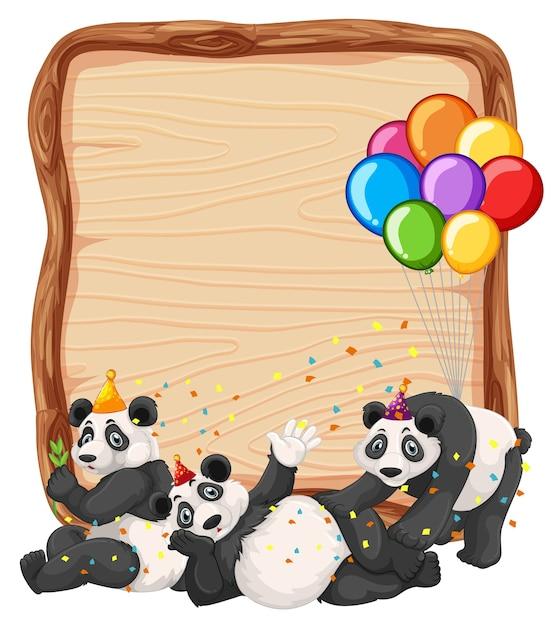 Lege houten plank sjabloon met panda's in thema van de partij geïsoleerd Gratis Vector