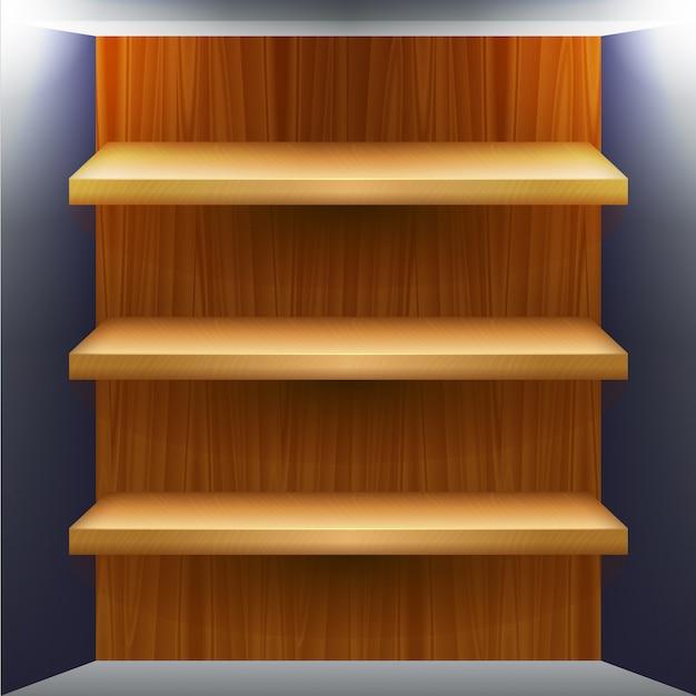 Lege houten planken voor producten Premium Vector