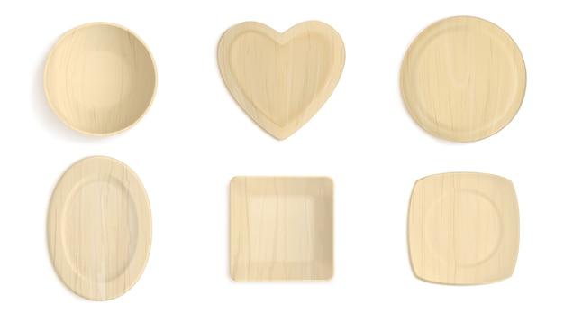 Lege houten verschillende vormenkommen Gratis Vector