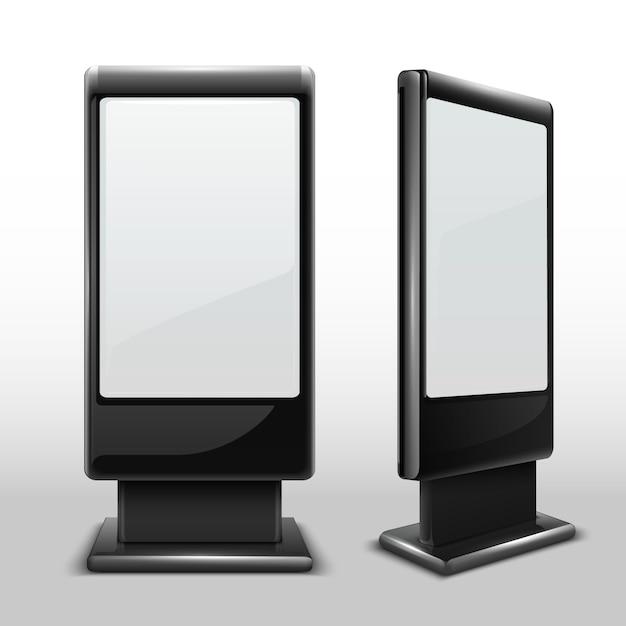 Lege interactieve buitenkiosk. digitale tv staande touchscreen geïsoleerd. kioskstandaard weergeven, lege reclame-aanraakschermillustratie Premium Vector