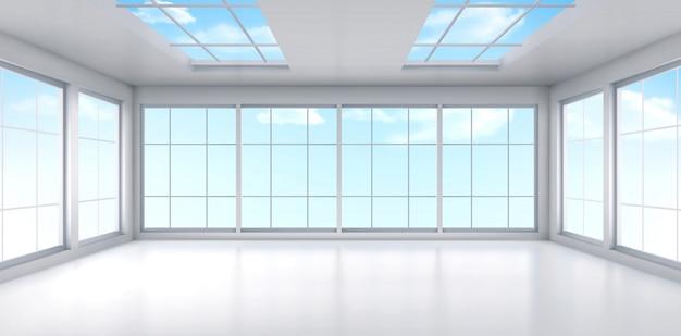 Lege kantoor kamer interieur met ramen aan het plafond Gratis Vector