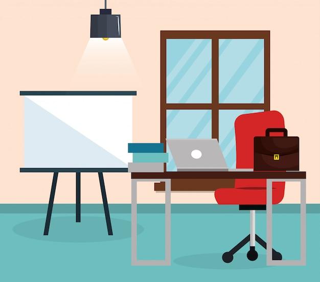 Lege kantoor werkplek scène Gratis Vector