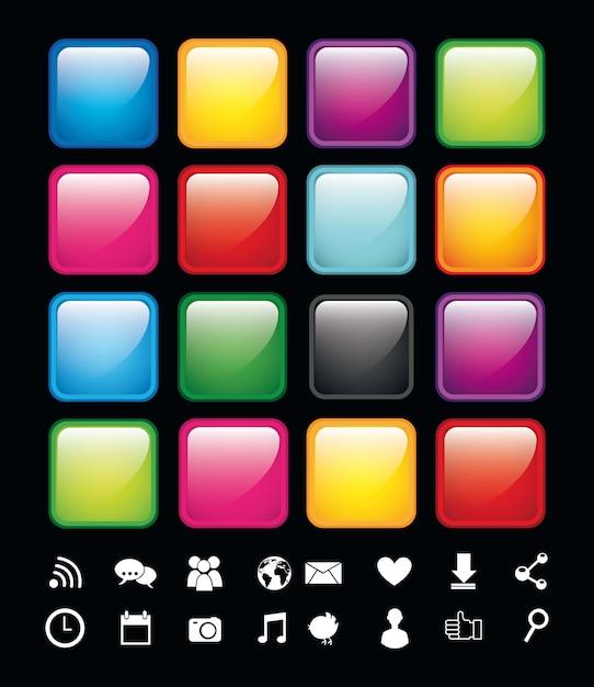 Lege knoppen met pictogrammen app winkel vectorillustratie Premium Vector