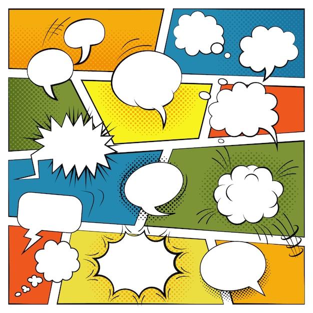 Lege komische spraak en geluidseffecten bubbels set Gratis Vector