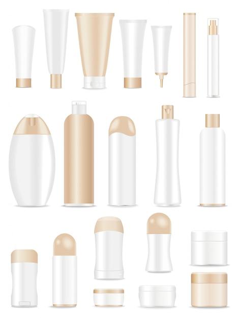 Lege kosmetische buizen die op wit worden geplaatst Premium Vector