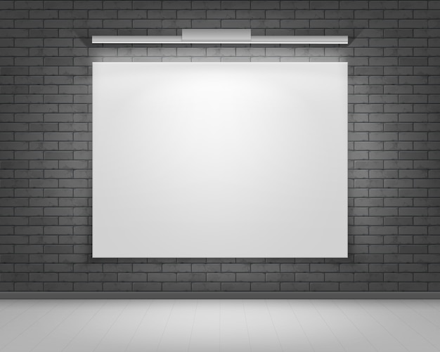 Lege lege witte mock up poster afbeeldingsframe op zwart grijze bakstenen muur Premium Vector