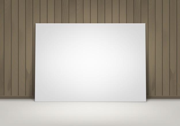 Lege lege witte mock up poster afbeeldingsframe staande op de vloer met bruin houten muur vooraanzicht Premium Vector