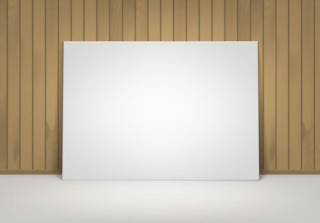 Lege lege witte mock up poster fotolijst staande op de vloer met bruine sienna houten muur vooraanzicht Premium Vector