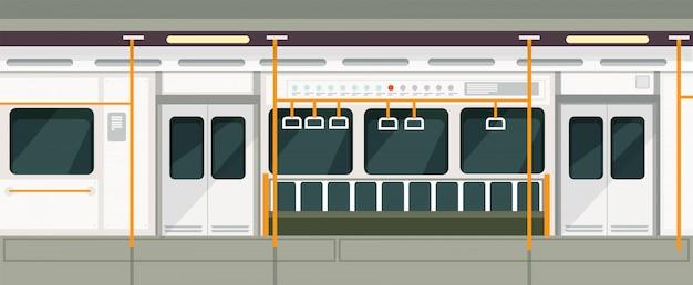 Lege metrotrein binnen mening. metro vervoer vectorbinnenland Premium Vector