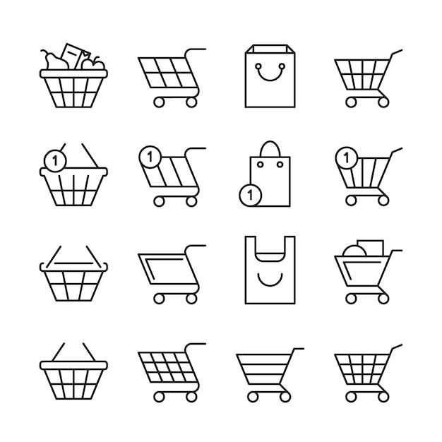 Lege online winkelmanden, markt vak lijn web winkel pictogrammen Premium Vector