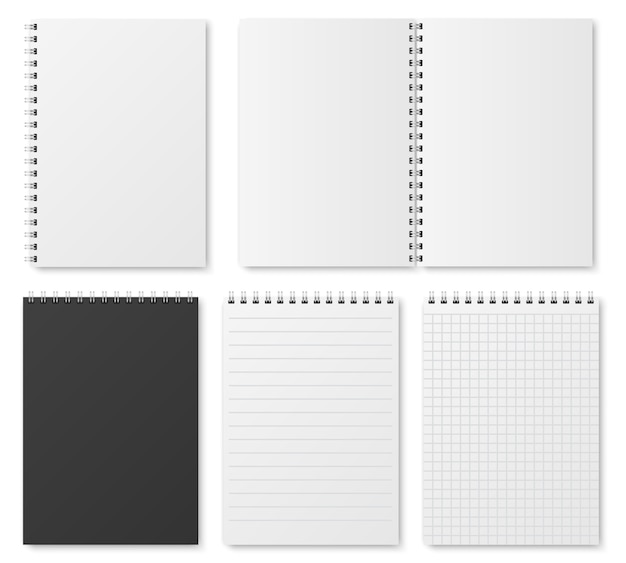 Lege open en gesloten realistische notitieboekje, organisator en dagboeksjabloon Premium Vector