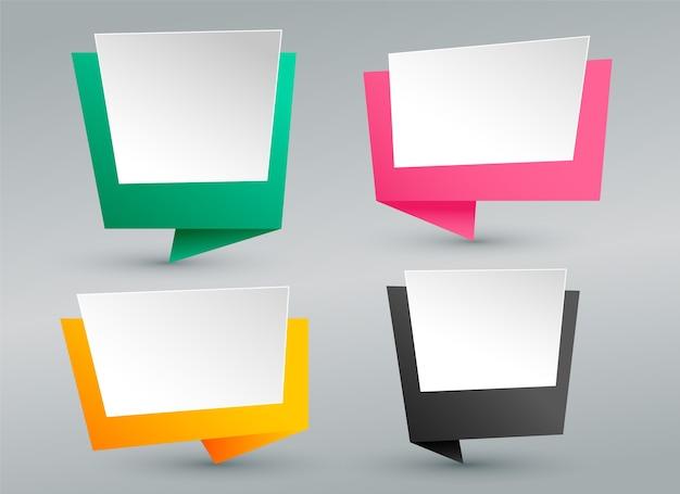 Lege origami praatjebellen set Gratis Vector