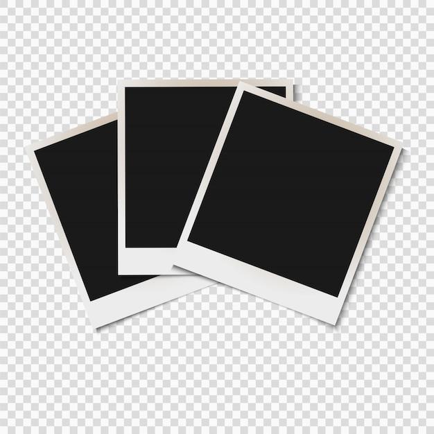 Lege oude fotolijsten geïsoleerd op transparante achtergrond Premium Vector