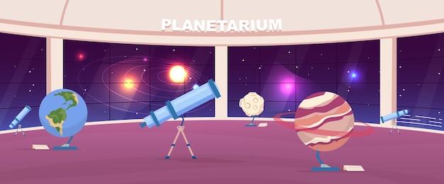 Lege planetarium egale kleur. interactieve openbare astrologietentoonstelling. planet exposities. astronomiemuseum 2d cartoon interieur met panoramische nachtelijke hemelinstallatie op achtergrond Premium Vector