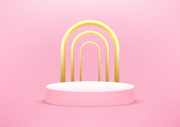 Lege podium studio roze achtergrond Premium Vector