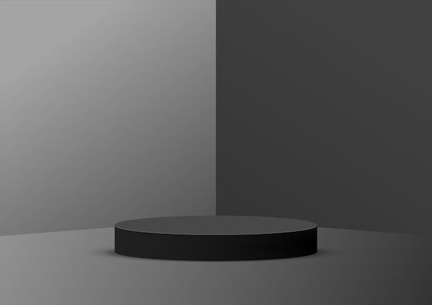 Lege podium studio zwarte achtergrond voor productvertoning met kopie ruimte. Premium Vector
