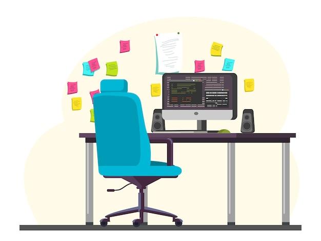 Lege programmeur kantoorruimte werkplek met computer, luidsprekers, toetsenbord op bureau, comfortabele stoel, herinnering kleurrijke stickers opknoping op muur, werkstation, werkruimte interieur illustratie Premium Vector