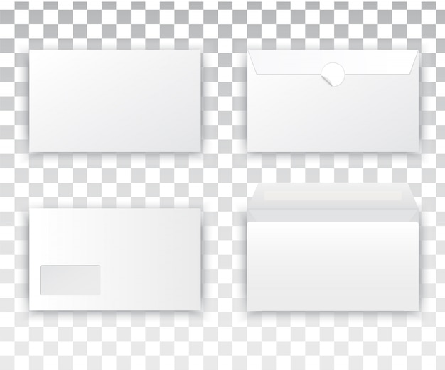 Lege realistische envelop witte set Premium Vector
