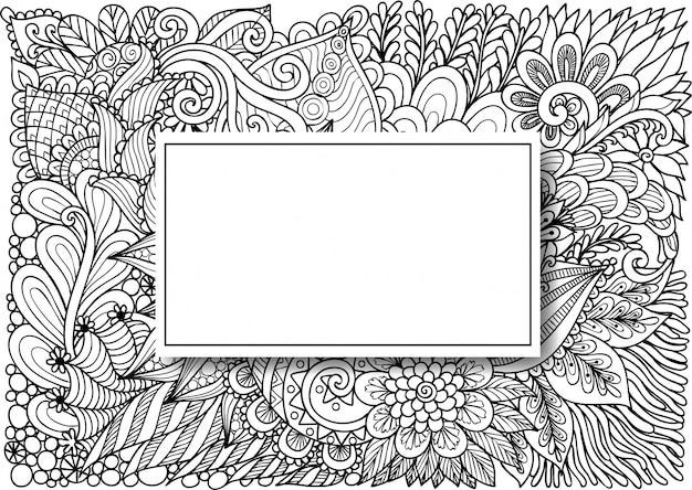 Lege rechthoek op bloemen Premium Vector