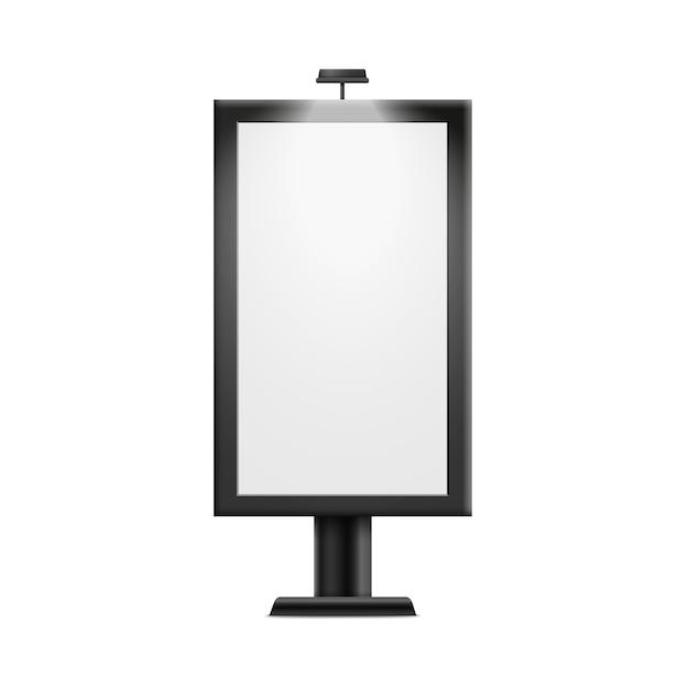 Lege reclame billboard poster op witte achtergrond - lege display voor buitenreclame banner, realistische afbeelding. Premium Vector