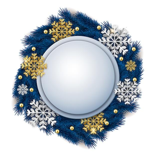 Lege ronde kerstmis sierlijke banner met fir tree krans en glitter sneeuwvlokken Premium Vector