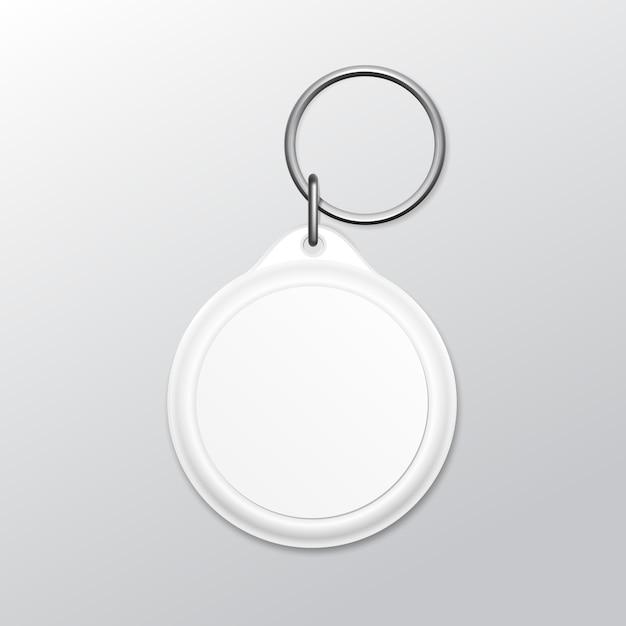 Lege ronde sleutelhanger met ring en ketting voor sleutel geïsoleerd op een witte achtergrond Premium Vector